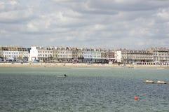 Esplanade di Weymouth dal mare Fotografia Stock Libera da Diritti