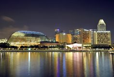 Esplanade and the Marina Bay Skyline Stock Photography