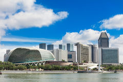 Esplanade and the Marina Bay Skyline Stock Photo