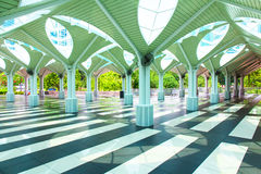 Esplanade of the mosque. With its roof in the form of creating an umbrella atmosphere of tranquillity and peace tree Royalty Free Stock Images