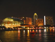 Esplanade at Night. Singapore's cultural centre, The Esplanade, at night with other hotels in by the river Royalty Free Stock Photography