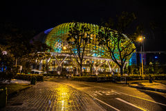 Esplanade During Night. Colorfully Lit Up Esplanade Singapore Royalty Free Stock Image