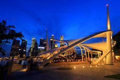 Esplanade outdoor stage Singapore. Fronting the 300m long waterfront along Marina Bay, the outdoor theatre can seat 450 people and take up to 600 standing. The Royalty Free Stock Images