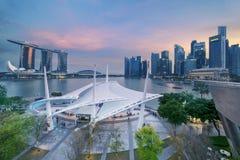 Esplanade Outdoor Theatre and Marina Bay Sands Hotel. Singapore. November 06, 2017: Beautiful landscape of Esplanade Outdoor Theatre and Marina Bay Sands Hotel Royalty Free Stock Photos