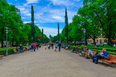 Esplanade Park in Helsinki. HELSINKI, FINLAND - JUNE 16, 2017: Scene of the Esplanade Park with locals and visitors, in Helsinki, Finland Stock Photo