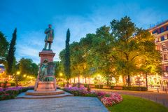 Esplanade Park. Statue Of Johan Ludvig Runeberg in Stock Photos