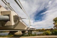 Esplanade Riel. The Esplanade Riel foot bridge and restaurant at the Forks in Winnipeg Manitoba stock photos