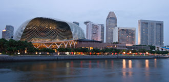 Esplanade in Singapore at dusk Stock Image