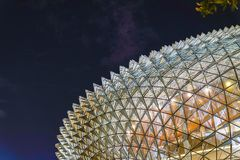 The Esplanade Singapore during the night time. This is a photo of Esplanade Singapore where its glass architectural workmanship is displayed beautifully Royalty Free Stock Images
