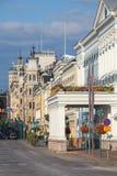 esplanade Straat in het centrum van Helsinki, Finland stock foto