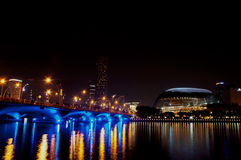 Esplanade theater and cityscape at Singapore Royalty Free Stock Images