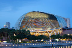 Esplanade Theater, Singapore waterfront. Nicknamed Durian by Singaporeans because of its spikey twin domes.  Esplanade on the Bay is an international center for Stock Photography