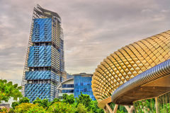 Esplanade Theaters and other buildings in Singapore city centre Stock Image
