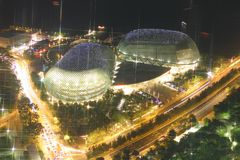 The Esplanade theatre. Night scene of the Esplanade/Marina Area in Singapore Stock Photos