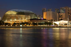 Esplanade Theatre on the Bay at dusk Royalty Free Stock Photo