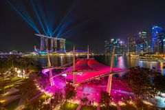Esplanade Theatre outdoor in Downtown Singapore city. Marina Bay area. Financial district and skyscraper buildings at night.  stock photography