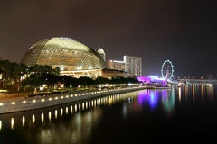 The Esplanade Theatre Singapore. Night cityscape of The Esplanade Theatre at Marina Bay, Singapore Stock Image