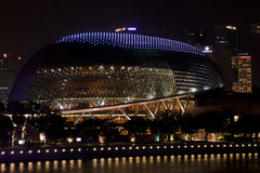 Esplanade Theatres on the bay at night Stock Images