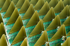 Esplanade theatres roof right. Roof closeup of the Esplanade Theatres by the Bay in Singapore showing complex geometries of aluminium shading pyramids fitted Royalty Free Stock Photos