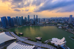 Esplanadebrücken-Jachthafenbucht Singapur Stockfotos