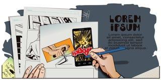 Esplode lo smartphone L'uomo spinge il detonatore per il tnt Fotografia Stock