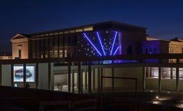 Esplora Centre w wieczór z iluminacj światłami fotografia stock