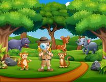 Esploratore del ragazzo con la lente d'ingrandimento nella giungla royalty illustrazione gratis