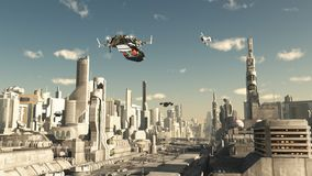 Esploratore Ship Landing in una città futura illustrazione vettoriale