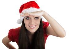 Esplorazione della ragazza di Natale Fotografia Stock