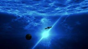 Esplorazione distante del exoplanet dalla sonda spaziale illustrazione di stock
