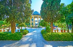 Esplori la tomba del complesso di Hafez, Shiraz, Iran fotografia stock