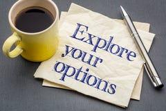 Esplori le vostre opzioni sul tovagliolo immagini stock libere da diritti