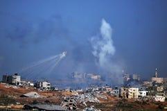 Esplosione aerea del bombardamento nella striscia di Gaza Immagine Stock Libera da Diritti