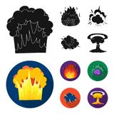 Esplosione atomica o del gas fiammeggi, delle scintille, dei frammenti dell'idrogeno, Le esplosioni hanno messo le icone della ra Fotografia Stock