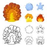 Esplosione atomica o del gas fiammeggi, delle scintille, dei frammenti dell'idrogeno, Le esplosioni hanno messo le icone della ra Fotografie Stock