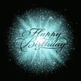 Esplosione blu del fuoco d'artificio della polvere con l'iscrizione di buon compleanno Fotografie Stock Libere da Diritti