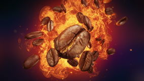 Esplosione dei chicchi di caffè arrostiti illustrazione vettoriale