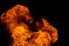 Esplosione del fuoco su fondo nero Fotografie Stock