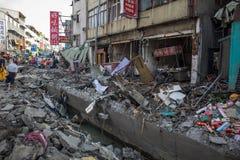 Esplosione del gas, Kaohsiung, Taiwan Immagine Stock