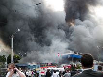 Esplosione del mercato di Slavyansky in Dnipropetrovsk Fotografie Stock Libere da Diritti