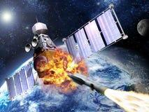Esplosione del satellite militare Fotografia Stock Libera da Diritti