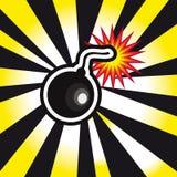Esplosione della bomba del pericolo nel fondo giallo e nero Fotografia Stock Libera da Diritti