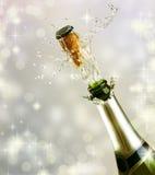 Esplosione della bottiglia di Champagne Fotografia Stock Libera da Diritti