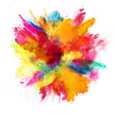 Esplosione di polvere colorata su fondo bianco Immagini Stock