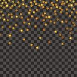 Esplosione festiva dei coriandoli Fondo di scintillio dell'oro Puntini dorati Pois dell'illustrazione di vettore illustrazione di stock