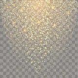 Esplosione festiva dei coriandoli Fondo per la carta, invito di scintillio dell'oro illustrazione di stock