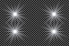 Esplosione leggera d'ardore bianca di scoppio con trasparente L'illustrazione di vettore per la decorazione fresca di effetto con Immagine Stock Libera da Diritti