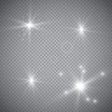 Esplosione leggera d'ardore bianca di scoppio con trasparente L'illustrazione di vettore per la decorazione fresca di effetto con Immagini Stock