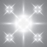 Esplosione leggera d'ardore bianca di scoppio con trasparente L'illustrazione di vettore per la decorazione fresca di effetto con Immagine Stock