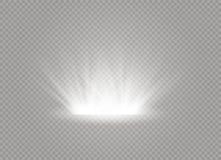 Esplosione leggera d'ardore bianca di scoppio su fondo trasparente Decorazione di effetto della luce dell'illustrazione di vettor fotografia stock